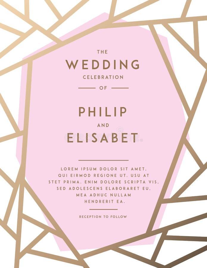 Golden Wedding Invitation Template Stock Vector - Illustration of ...