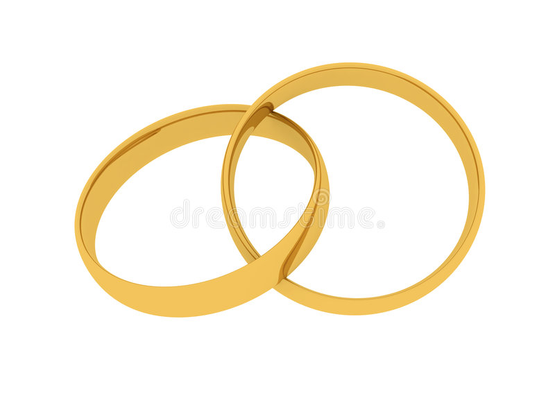 Golden Wedding Rings vector illustration