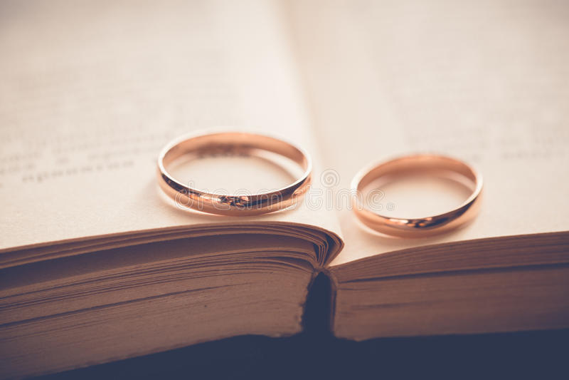 Golden Wedding Rings On Book Stock Image Image of proposal metal
