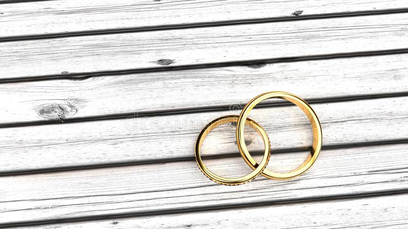 Golden wedding rings connected forever stock photos