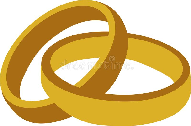 Golden wedding rings stock illustration