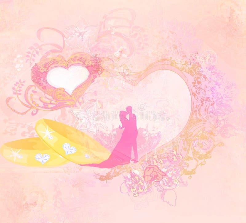 Golden wedding rings and wedding couple - Invitation card. Raster illustration stock illustration