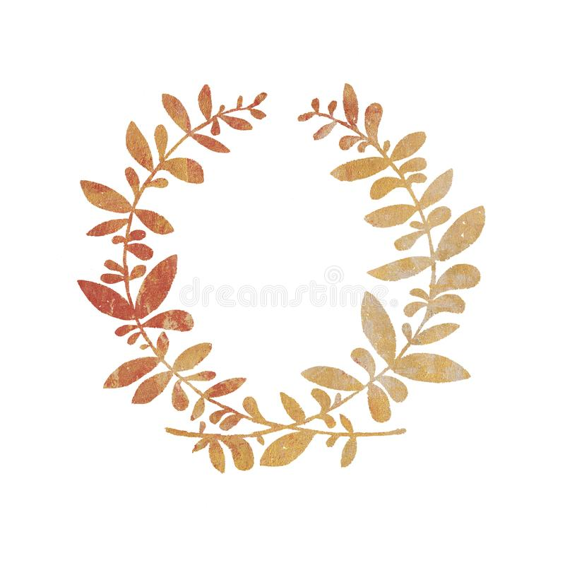 Download Golden Wedding Rustic Wreath Rural Restaurant Banner Background Stock Illustration