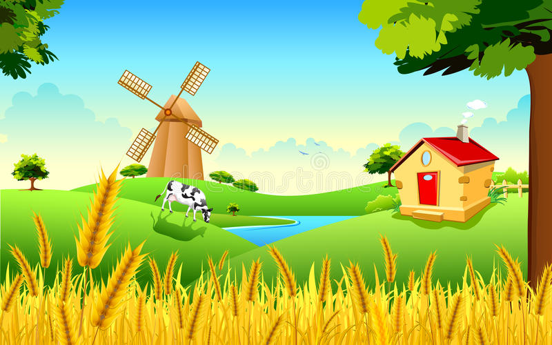 Golden Wheat Farm stock illustration