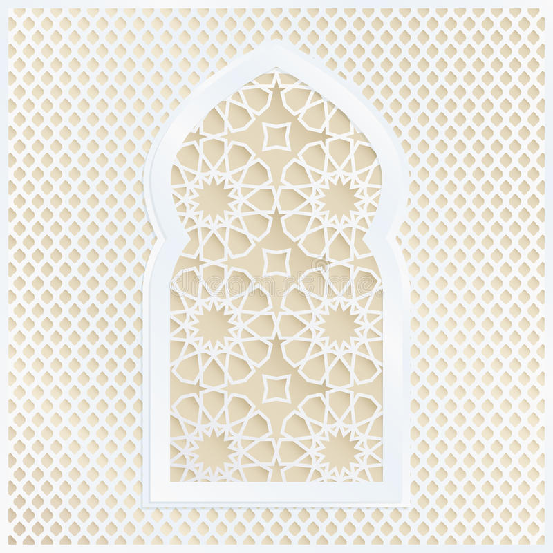 Golden and white Arabic ornamental mosque window. Vector illustration card, invitation for Muslim community holy month stock illustration