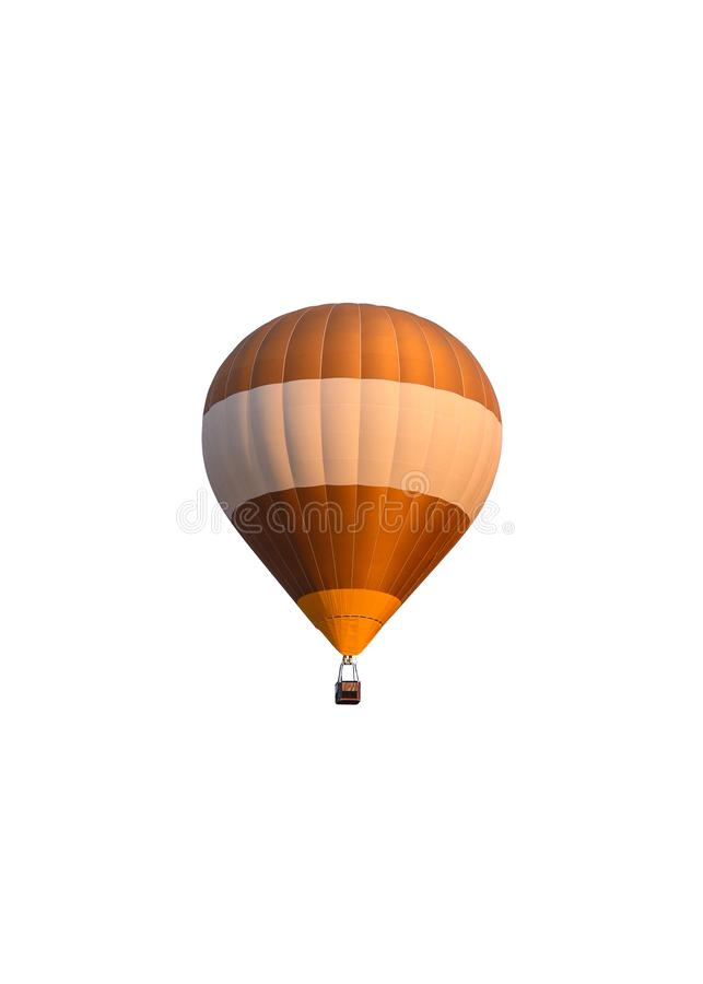 Golden white hot air balloon with basket royalty free stock images