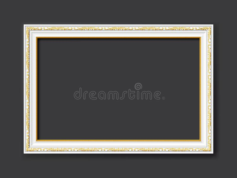 White vintage style vector frame with gold applications isolated on dark gray background royalty free stock photo