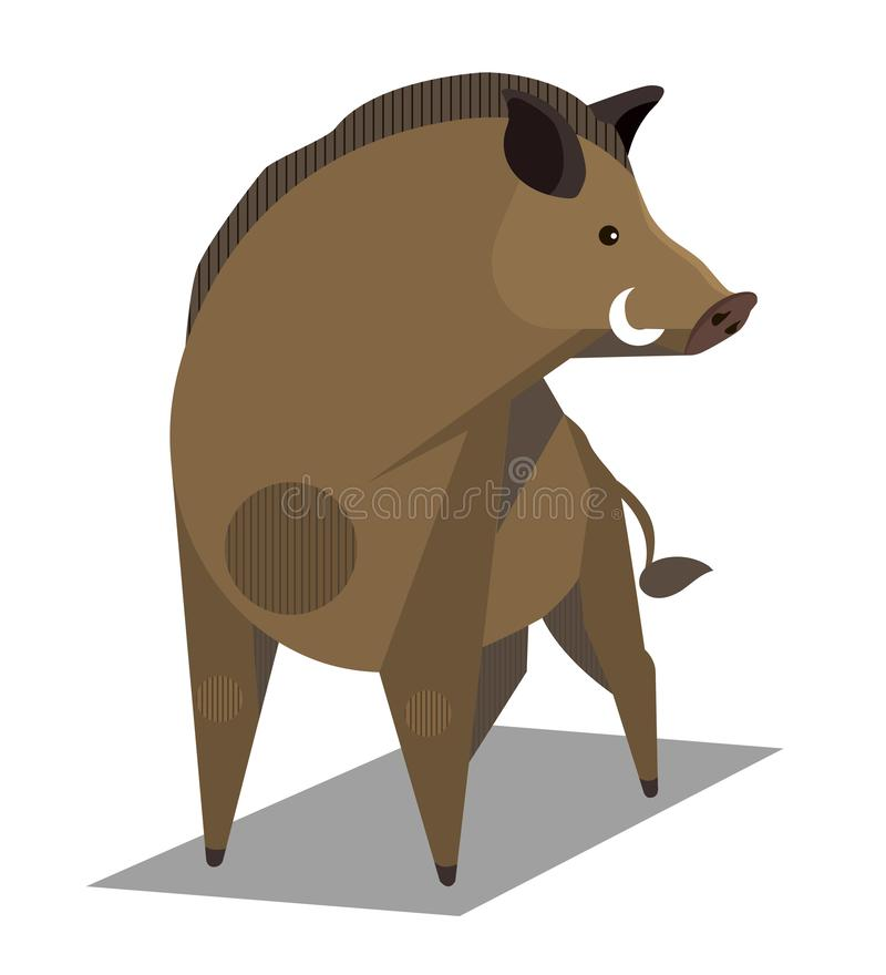 Golden wild boar. Animal sign on the Chinese zodiac, minimalist image on white background vector illustration