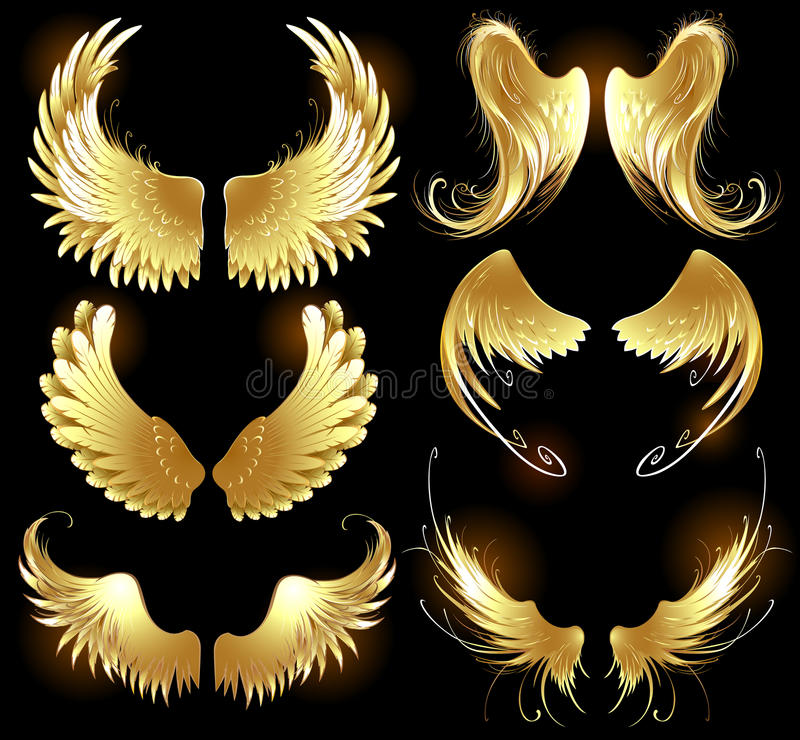Golden wings of angels stock illustration