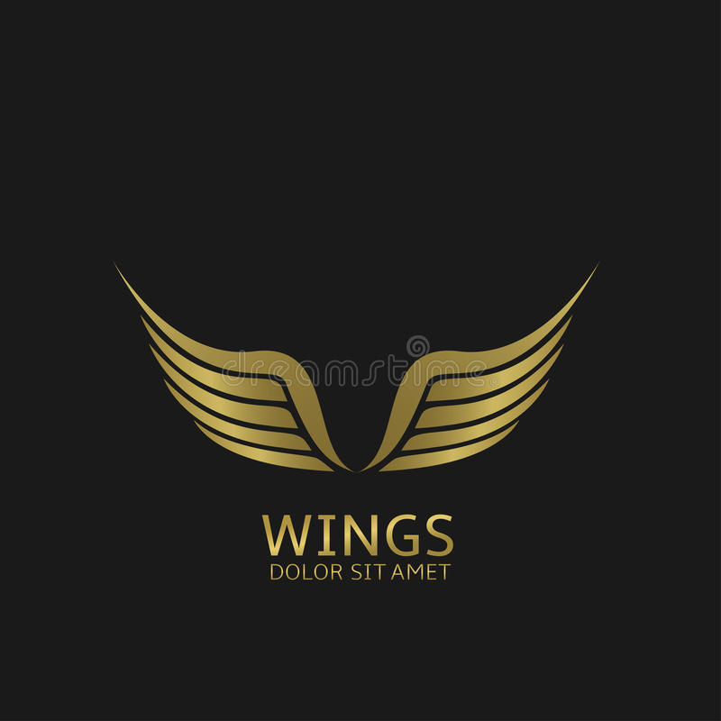 Golden Wings emblem stock illustration