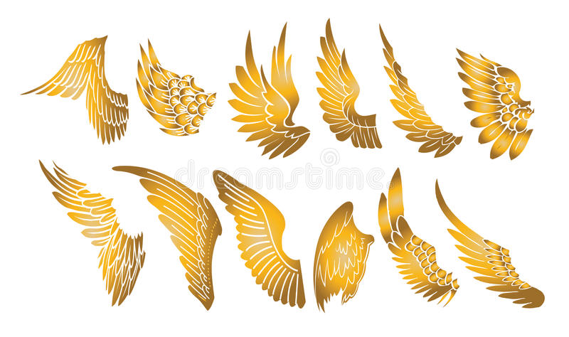 Golden wings stock illustration