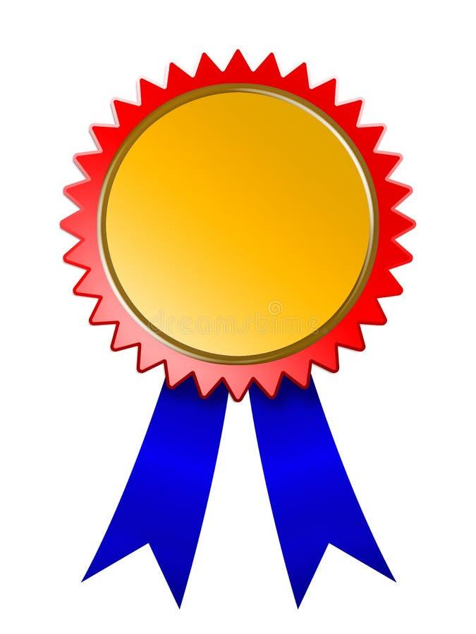 Golden Winner Medal Blue Ribbon Royalty Free Stock Image