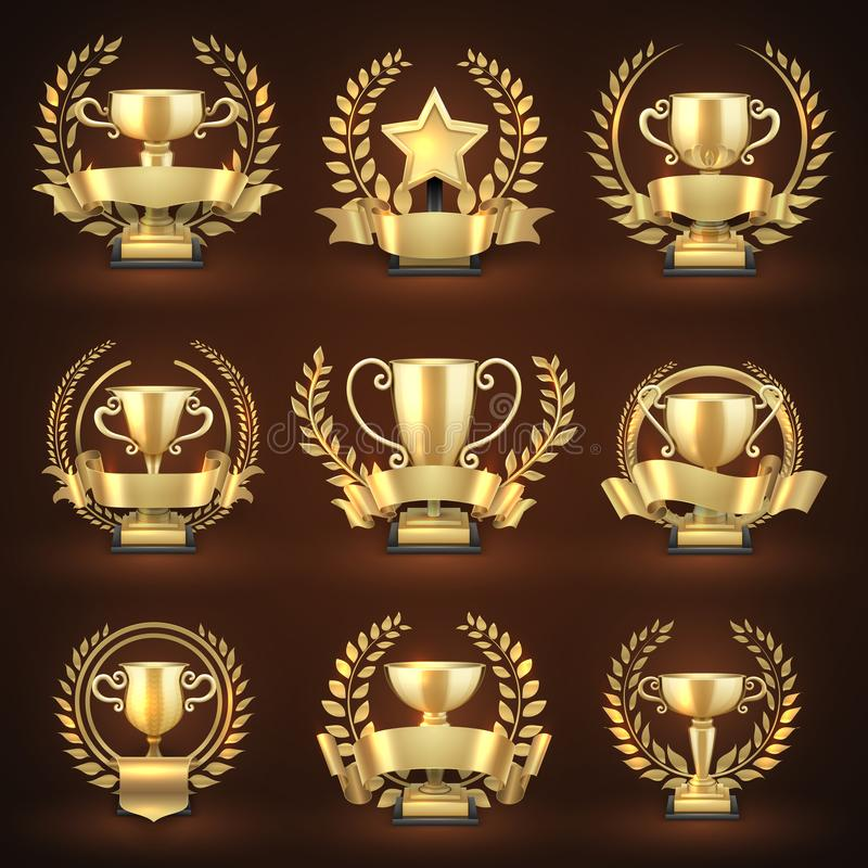 Golden winner trophy cups, prize sports awards with golden wreaths and ribbons vector illustration