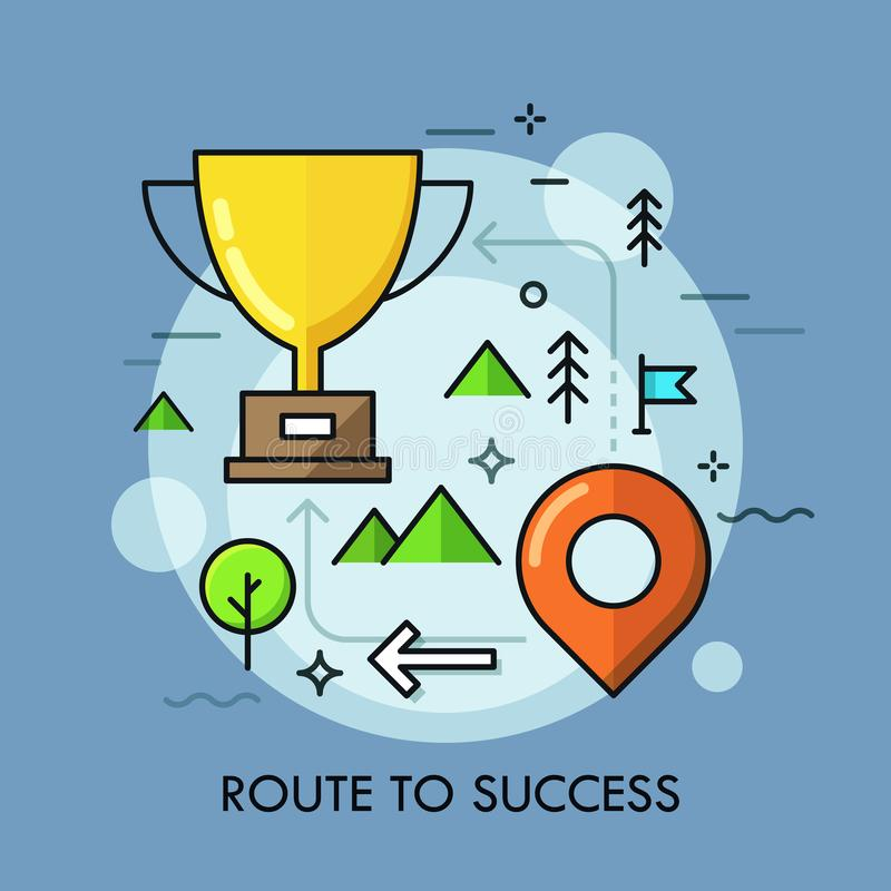 Golden winners cup placed on map with arrows and location mark. Route to success, strategy of successful business vector illustration