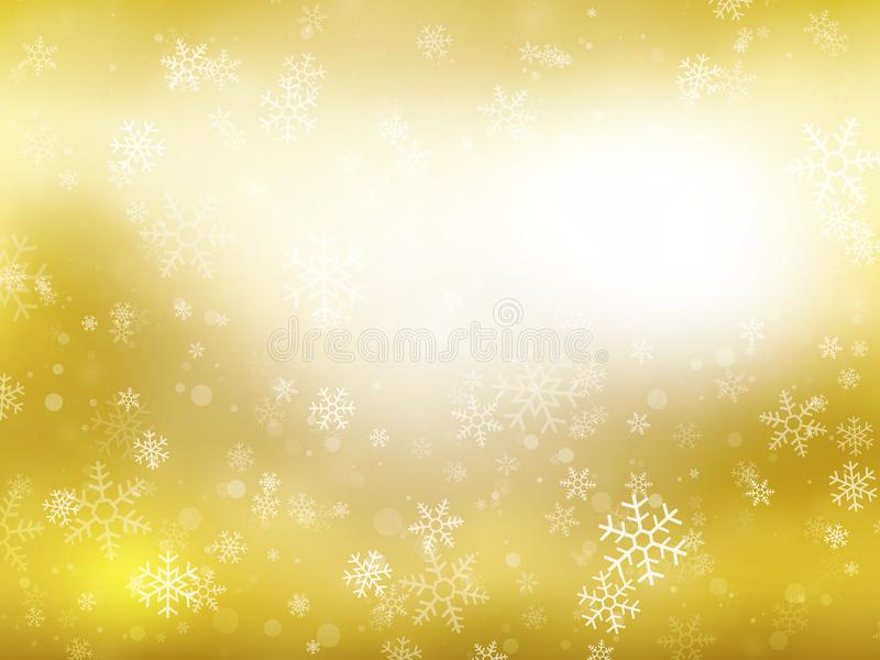 Golden winter Christmas background with snowflakes. Modern style vector illustration