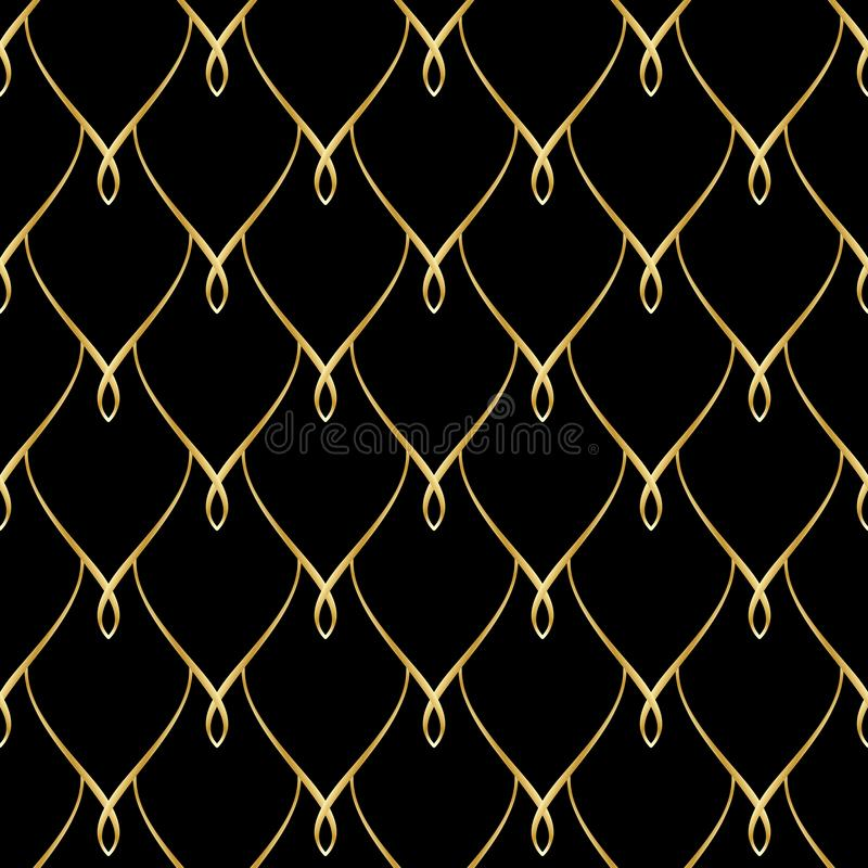 Golden wire seamless oriental scales pattern stock illustration