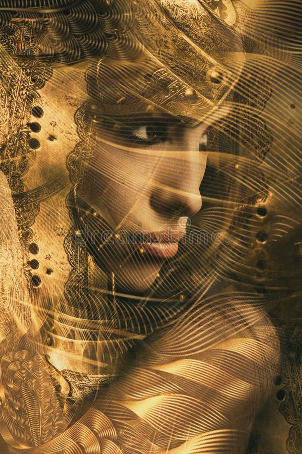 Golden woman warrior portria combine photo royalty free stock photos