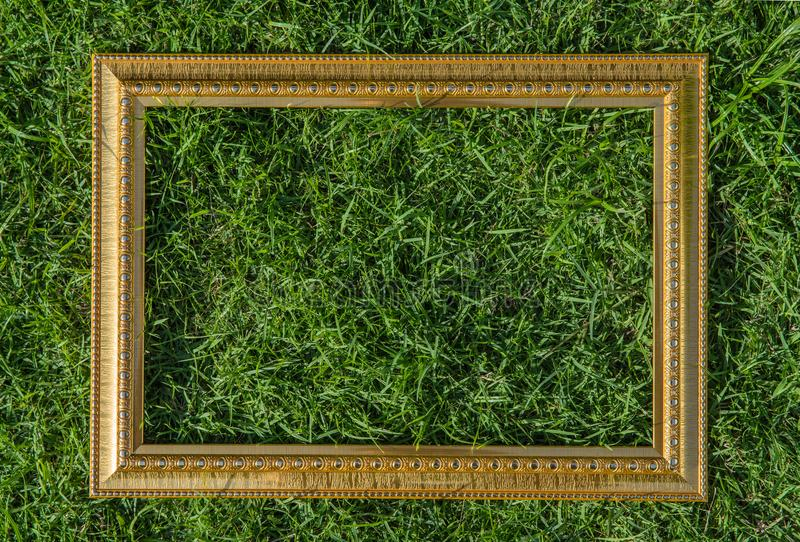 Golden wood frame on green grass background royalty free stock photography