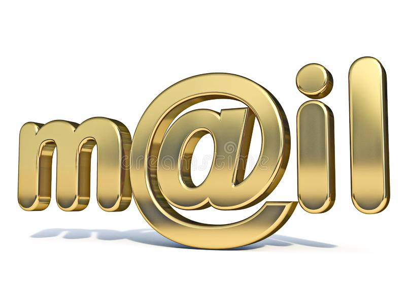 Golden word MAIL with at sign 3D royalty free stock photo