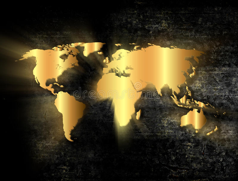 Golden world map. In grunge style stock photography