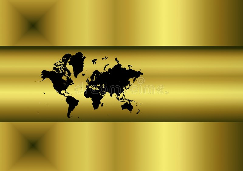 Golden world map. Golden abstract world map