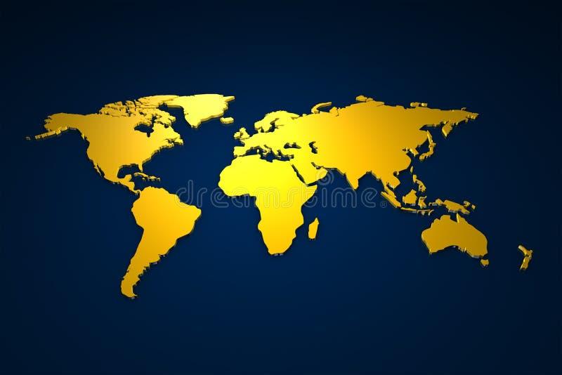 Golden Worldmap stock illustration