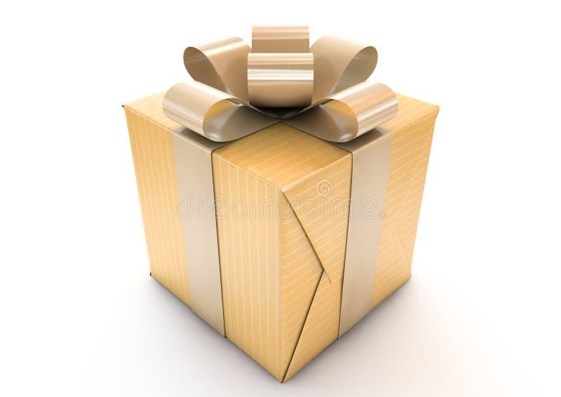 Golden Wrapped Gift Box stock illustration