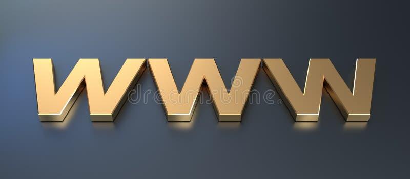 Golden WWW Symbol Stock Photography