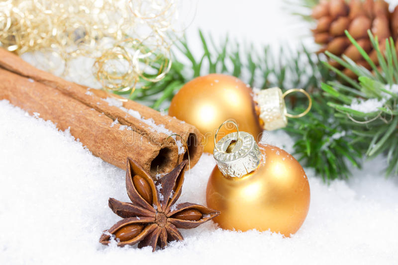Golden xmas balls royalty free stock image