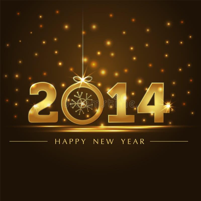 Golden 2014 year card presentation. Sample stock illustration