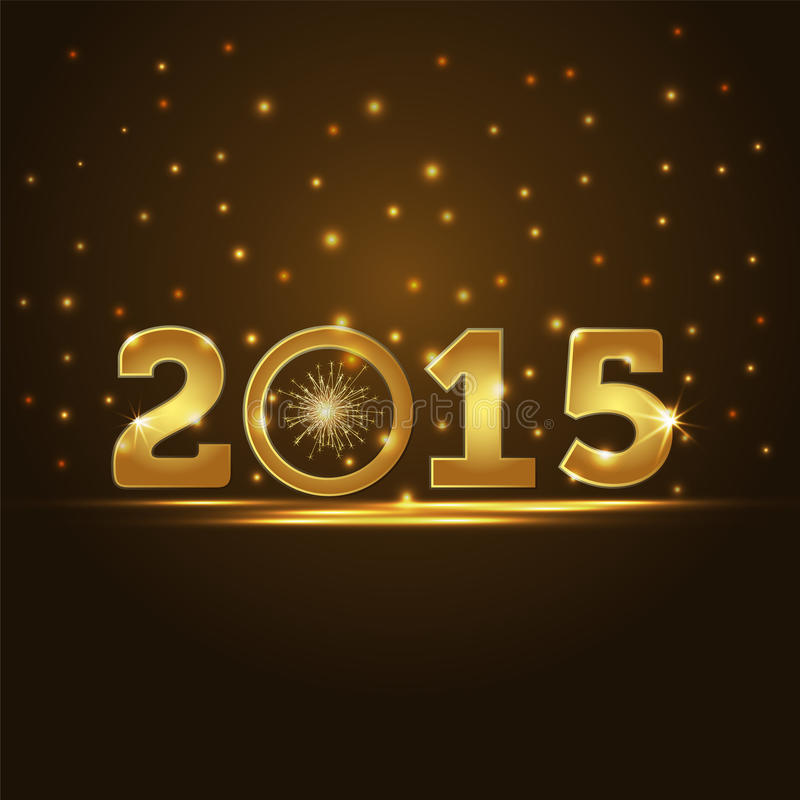 Golden 2015 year card presentation. Sample royalty free illustration