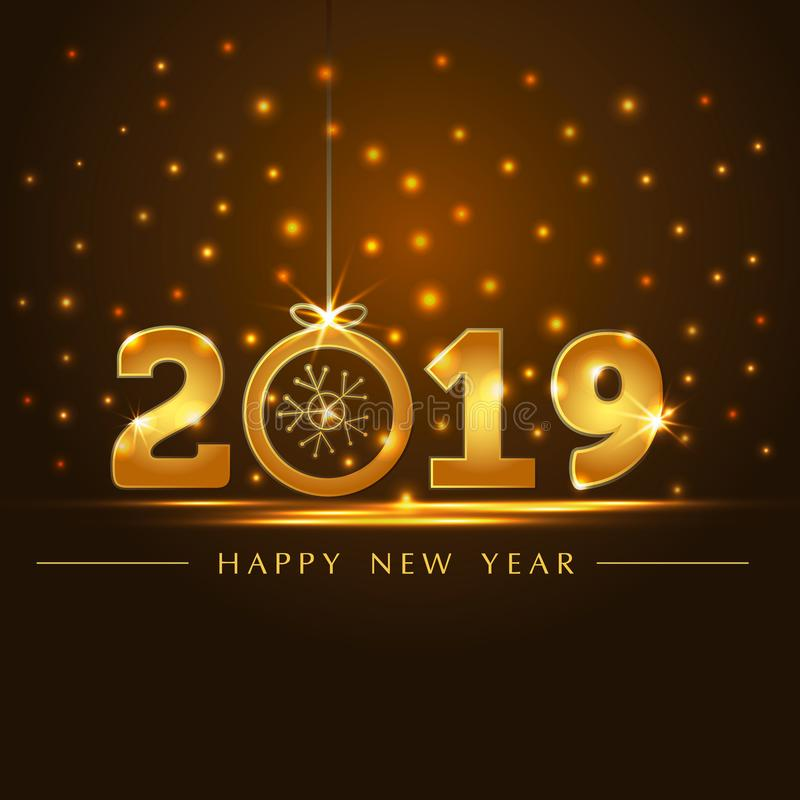 Golden 2019 year card presentation. Useful for Happy New Year or Happy Christmas background vector illustration