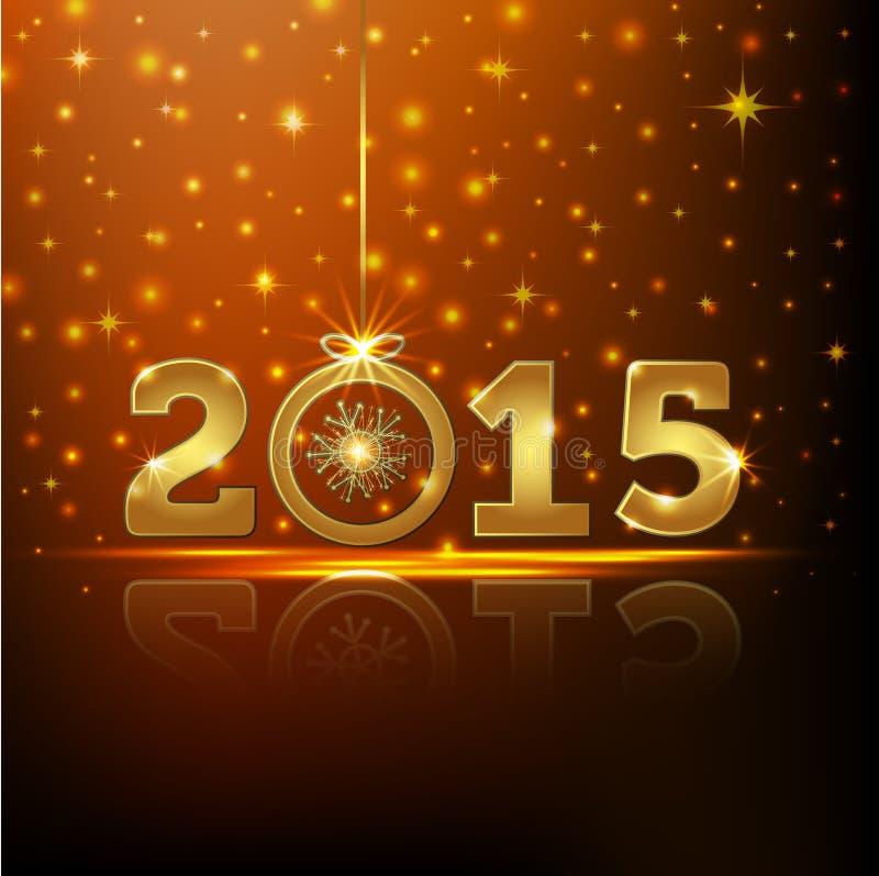 Golden 2015 year greeting card. Presentation vector illustration