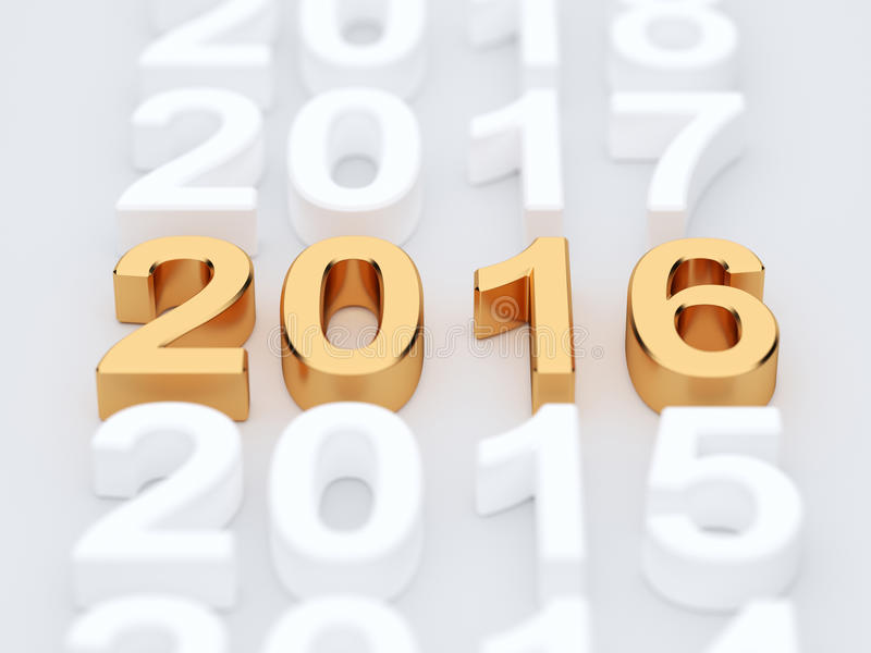 Golden 2015 year sign. Soft focus vector illustration