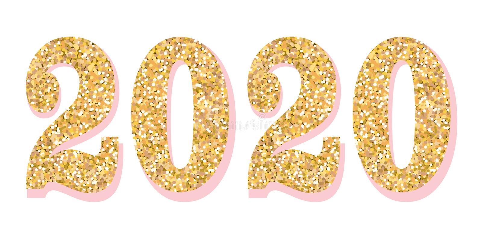 Golden 2020 year vector glitter numbers. Symbol with pink shadow for pretty cute design. royalty free stock photo