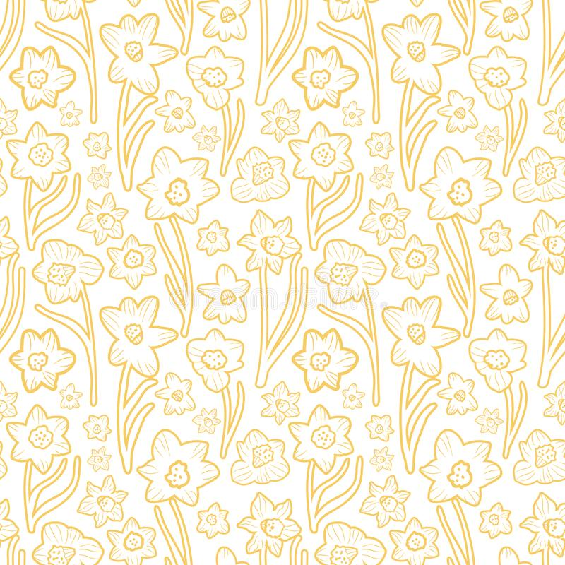 Golden yellow hand drawn daffodil line art texture on plain white background. Seamless vector pattern royalty free illustration