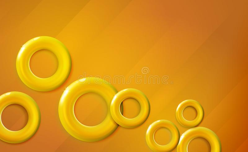 Golden, yellow rings background glossy start-up presentation, design shiny amber 3d realistic caramel color toned circles. Abstract vector glittering cover royalty free illustration