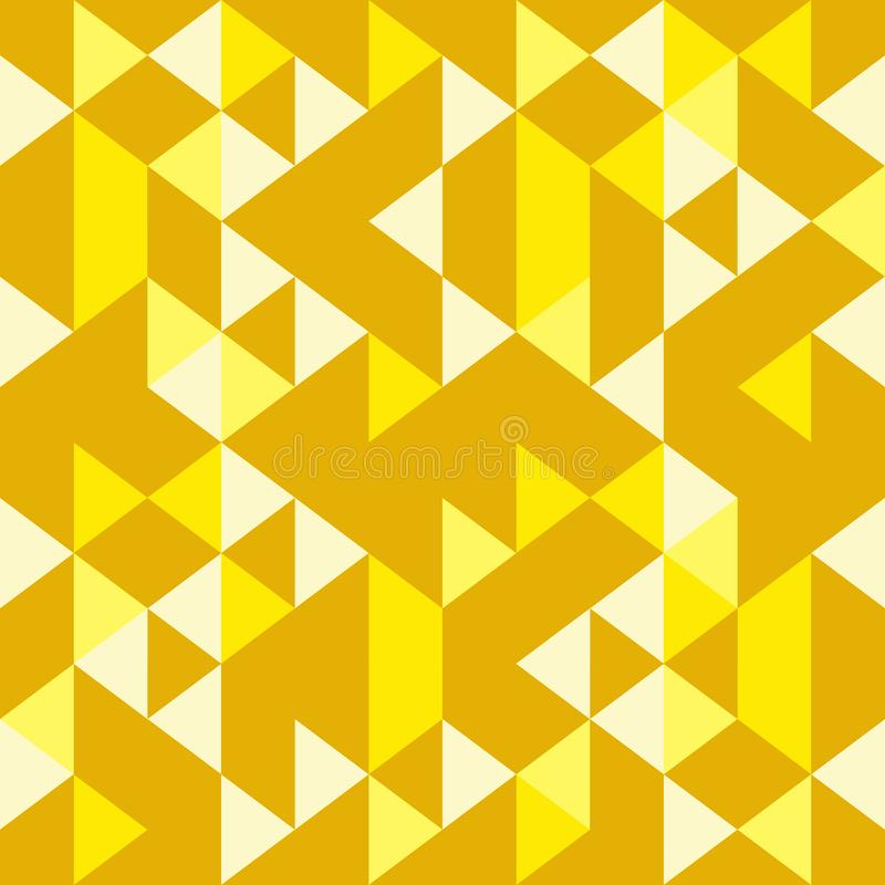 Golden yellow seamless geometric triangle pattern colorful stock illustration