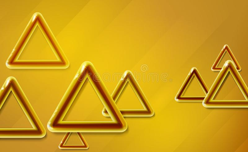 Golden, yellow triangles background glossy start-up presentation, design shiny amber 3d realistic caramel color toned rounded. Abstract vector glittering cover stock illustration