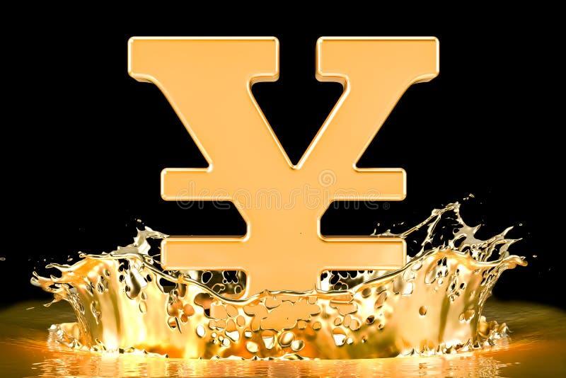 Golden yen or yuan symbol with gold splashing, 3D rendering stock illustration