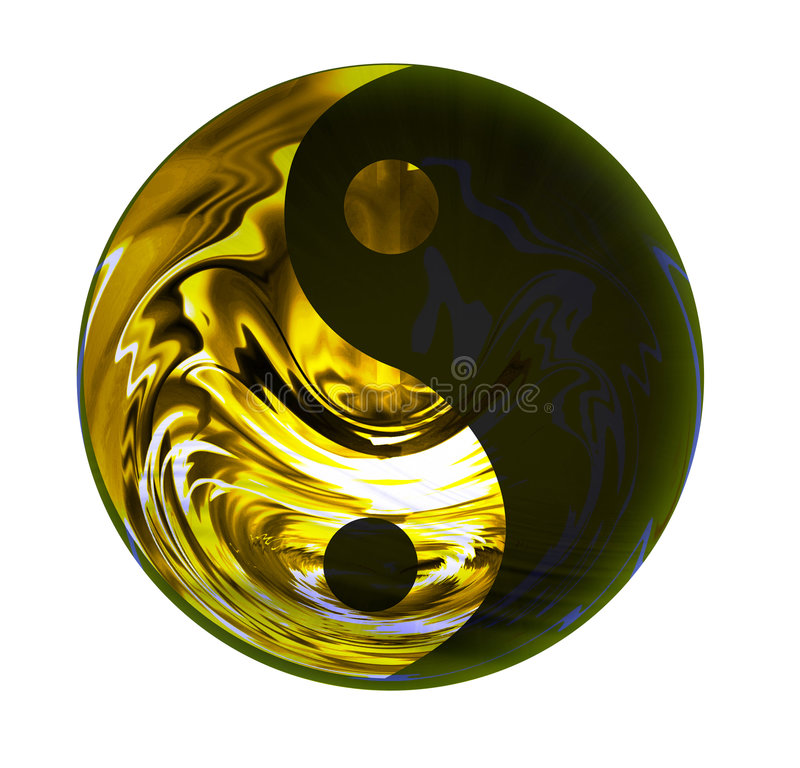 Golden Yin Yang symbol vector illustration