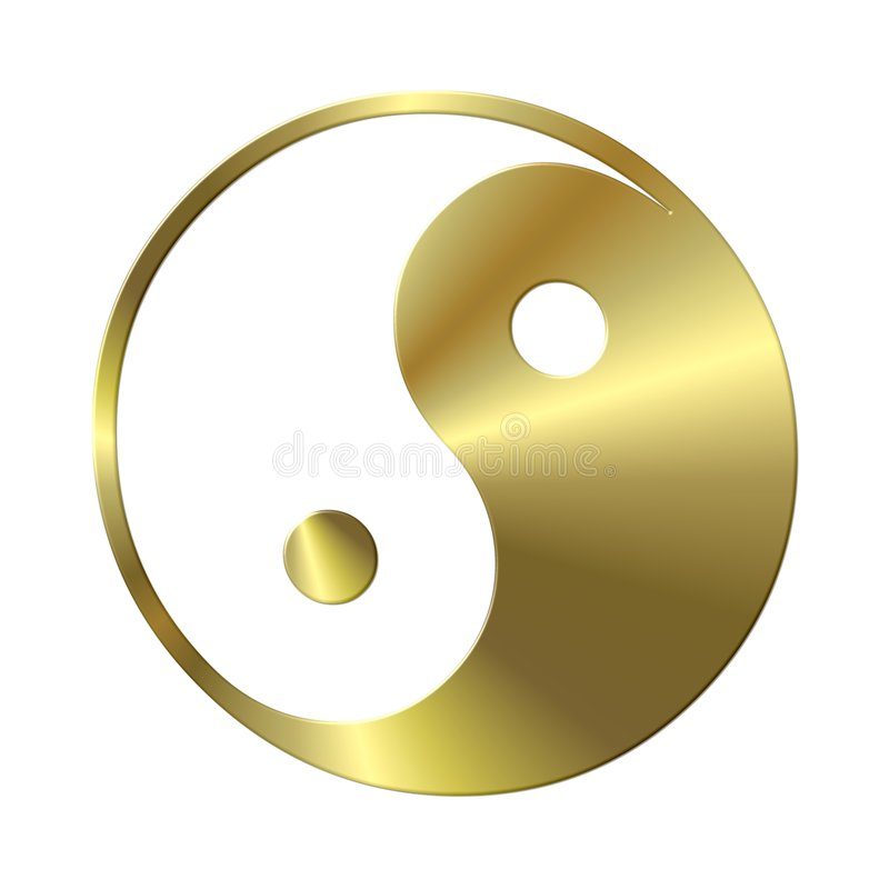 Golden ying and yang stock illustration