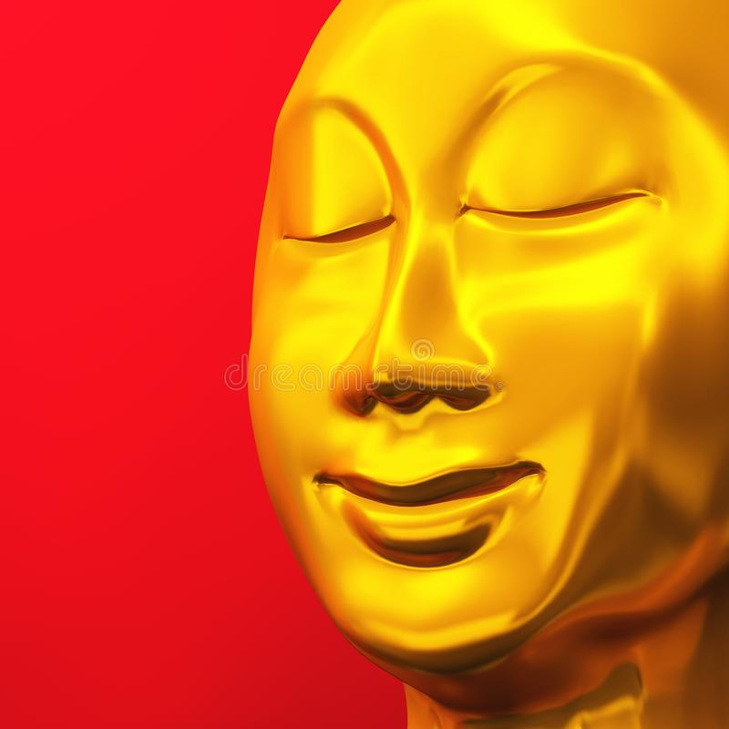Free Golden Zen Buddha Face On Red 01 Royalty Free Stock Images - 17908349
