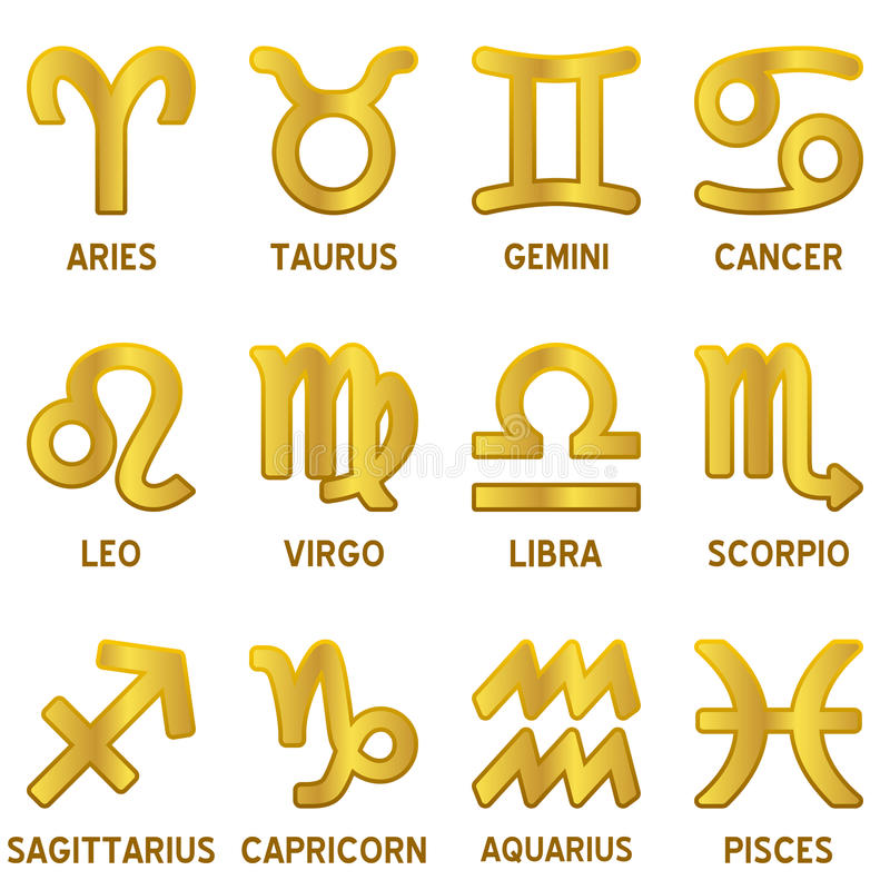 Golden Zodiac Signs Set royalty free illustration
