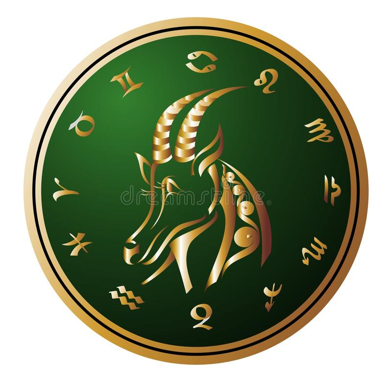 Golden Zodiac Wheel with sign of Capricorn. Vector Capricorn Zodiac Wheel sign symbol stock illustration