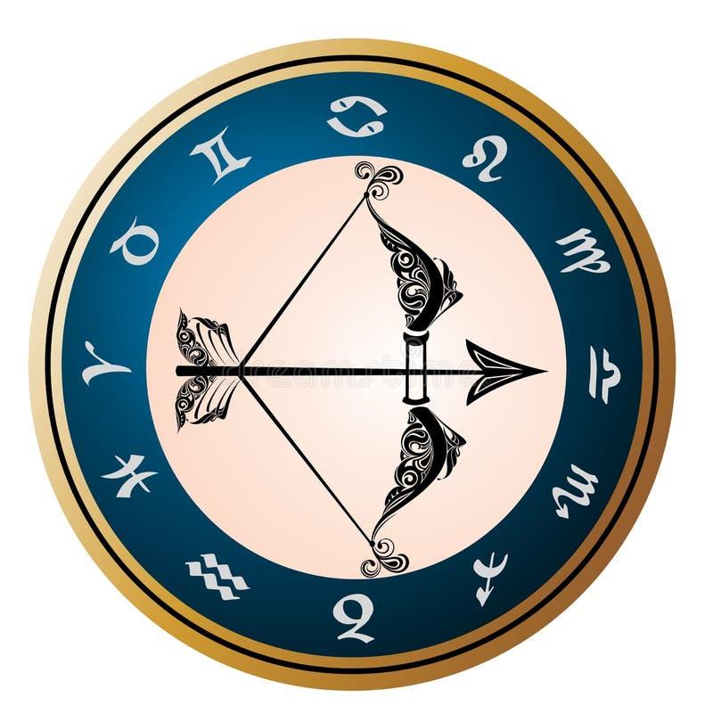 Golden Zodiac Wheel with sign of Sagittarius vector illustration