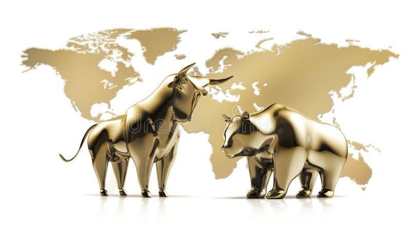 GoldenBull e urso - mercado de valores de ação do conceito ilustração royalty free