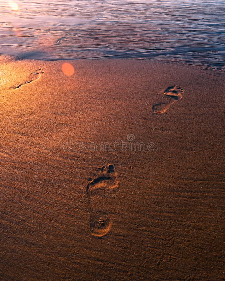 Goldene Abdrücke im Sand lizenzfreie stockfotos