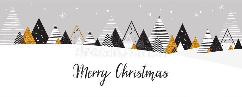 Goldene abstrakte Weihnachtswinterszene Weihnachtswinter-Landschaftshintergrund in den Schwarz- und Goldfarben Abstrakter Vektor lizenzfreie abbildung