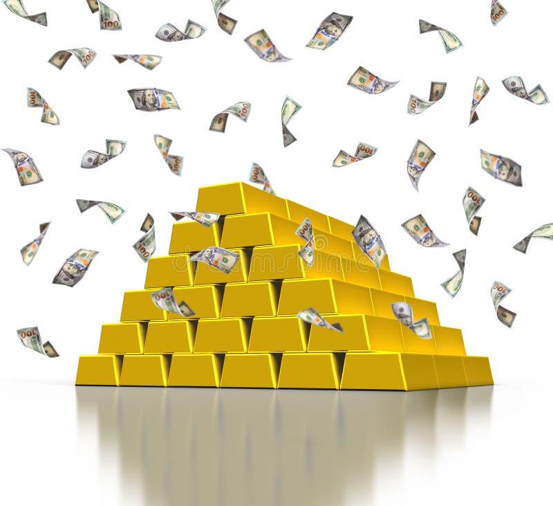 Goldene Anlagebarren und fallende Dollarscheine lizenzfreie abbildung